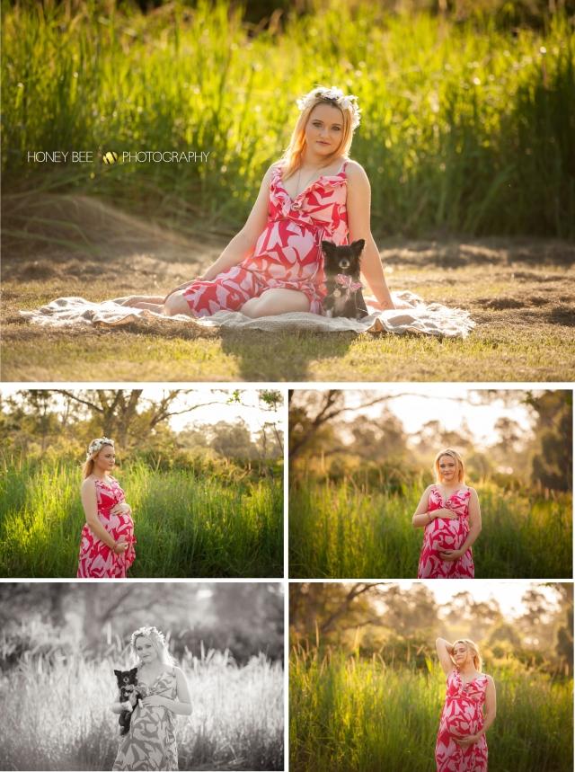 Brisbane Wedding, Maternity, Newborn, CHildren and Family Photographer, outdoors, golden light, baby bump, flowers