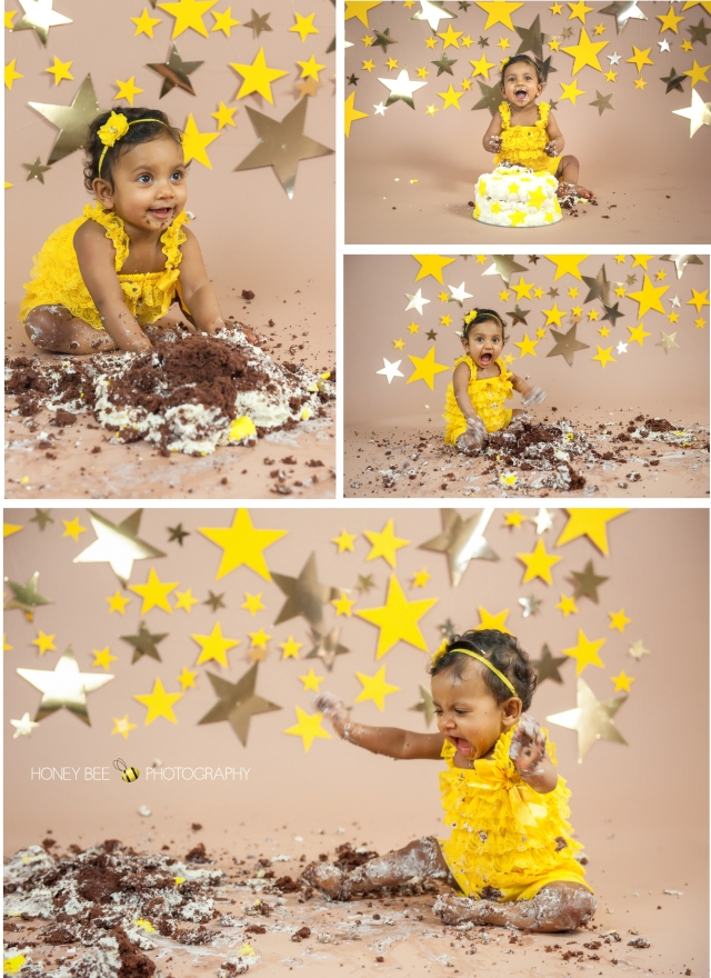 Brisbane Wedding, Maternity, Newborn, Children and Family Photography, Cake smash, stars, yellow, chocolate cake