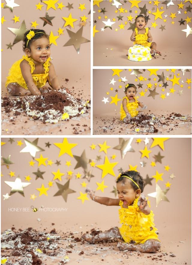 Brisbane Wedding, Maternity, Newborn, Children and Family Photography, Cake smash, stars, yellow, chocolate cake