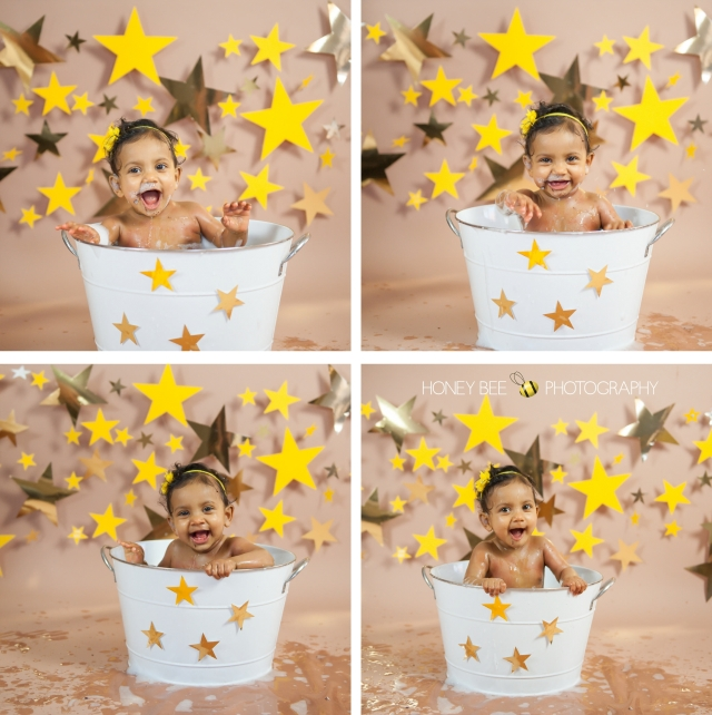 Brisbane Wedding, Maternity, Newborn, Children and Family Photography, Cake smash, stars, yellow, bath time, tub
