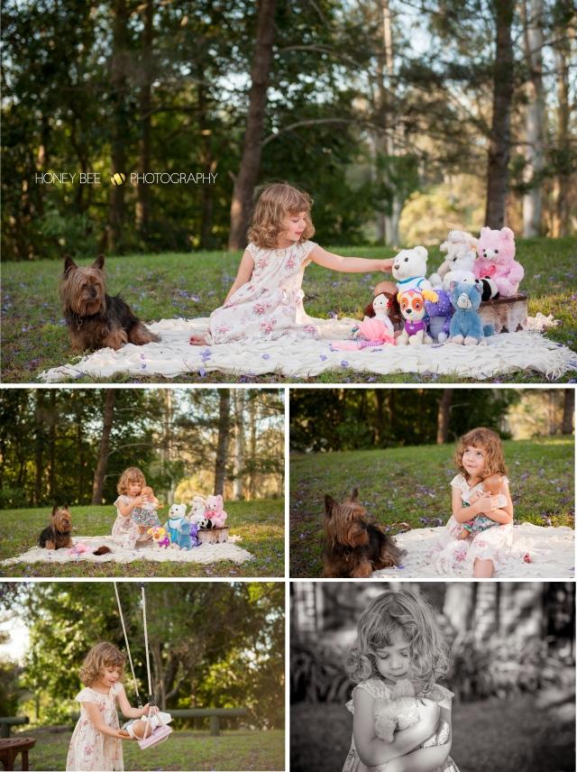 Brisbane Wedding, Maternity, Newborn, Children and Family Photography, Swing, jacaranda, black and white, teddy bears and dolls, pets